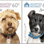 Two dog postage stamps