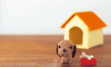 Amigurumi crocheted dog