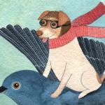 Dog on bird illustration
