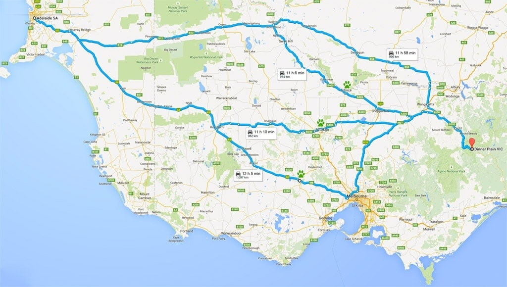 Adelaide to Dinner Plain - different route options