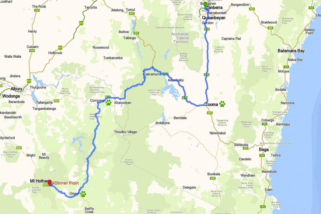 Canberra to Dinner Plain - Alpine Route