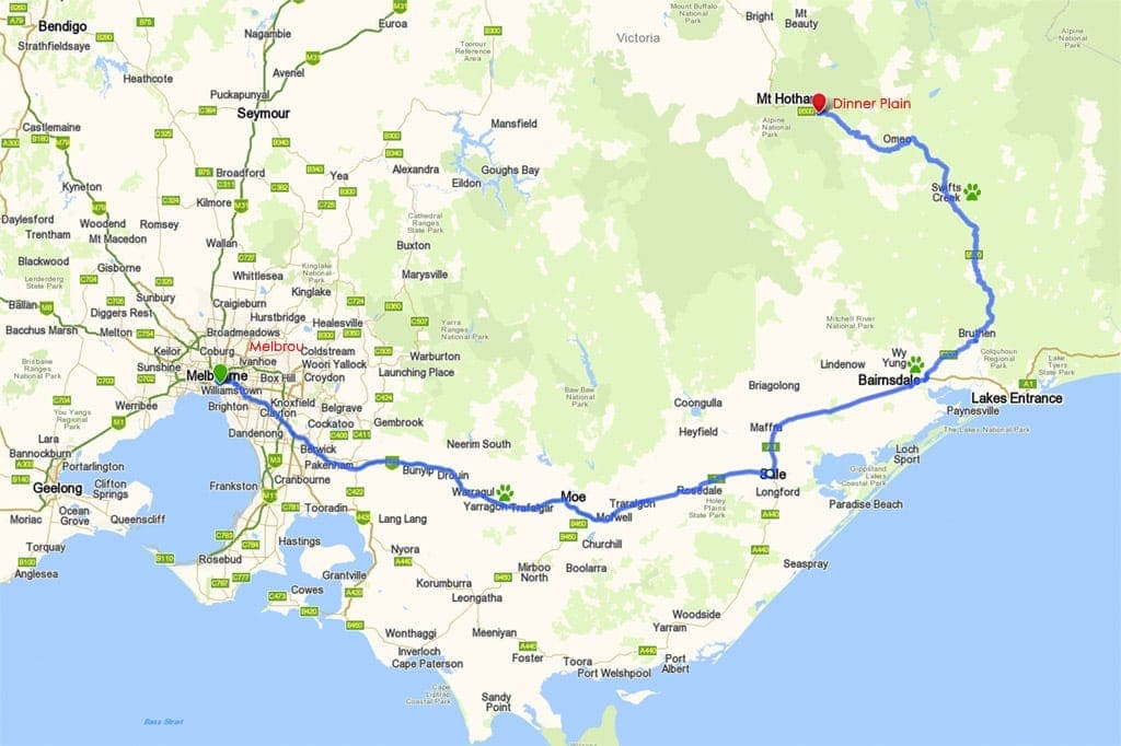 Melbourne to Dinner Plain via Gippsland