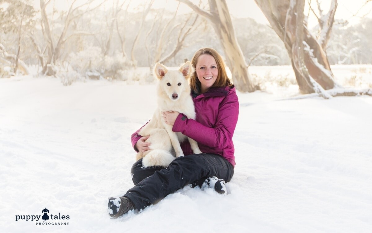 Kerry Martin and her dog Summer holidaying at the snow in the dog friendly Dinner Plain