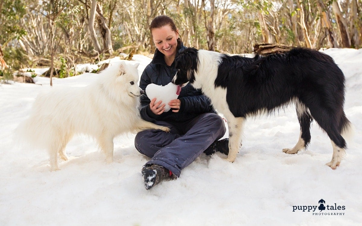 Kerry Martin of Puppy Tales enjoying time at the snow with her dogs Keiko and Rosie