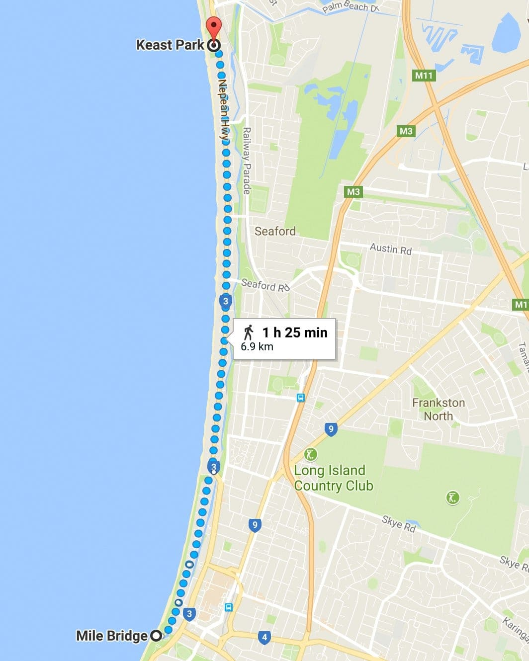 Map for walking Seaford Foreshore Reserve Walk with your dog