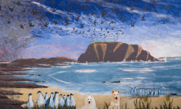 Japanese SPitz and Border Collie at Cowes, Phillip Island